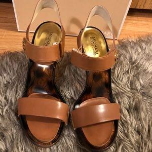 Michael Kors Marble leather Lan Sandal Heel